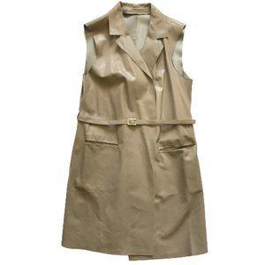 Eleventy Leather Vest 46 Large Brown Tan Belt MINT
